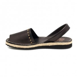 Black leather jute woman sandal 1