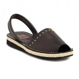 Black leather jute woman sandal