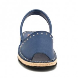 Woman's jute blue leather sandal 1