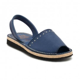 Woman's jute blue leather sandal