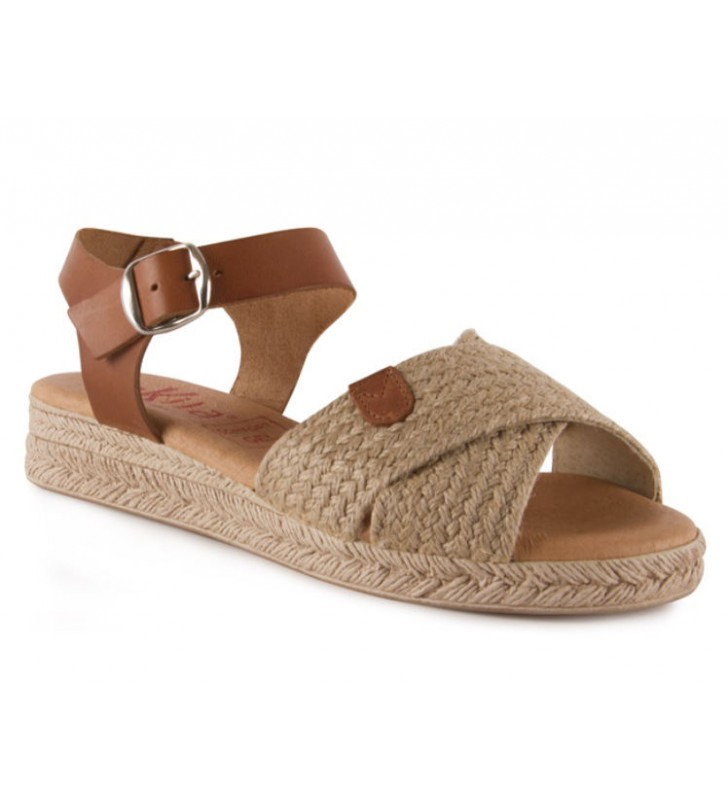 Jute leather and gel sandal