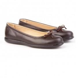 Ballerinas school shoes brown bow