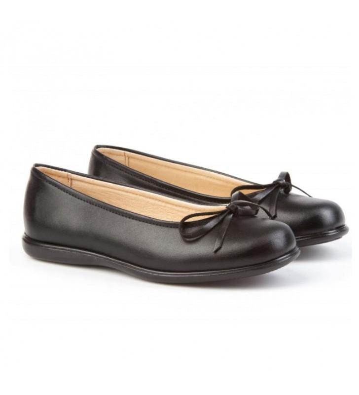 Ballerina schoolboy shoes black bow