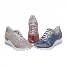 Women wedge leather trainers