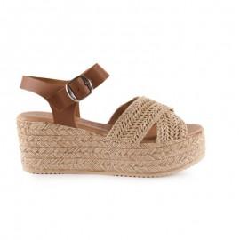 Women's raffia platform sandals
