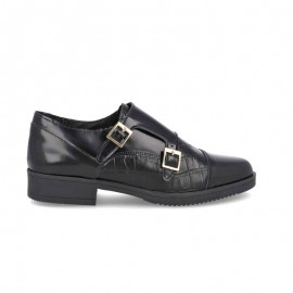 Women's leather buckles shoes