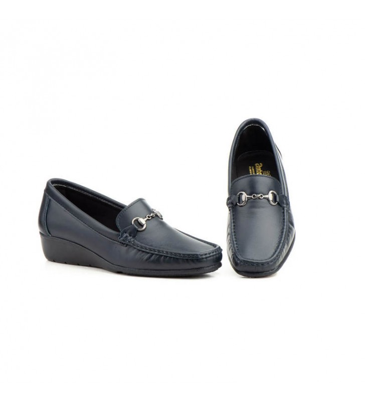 Women's navy leather loafers