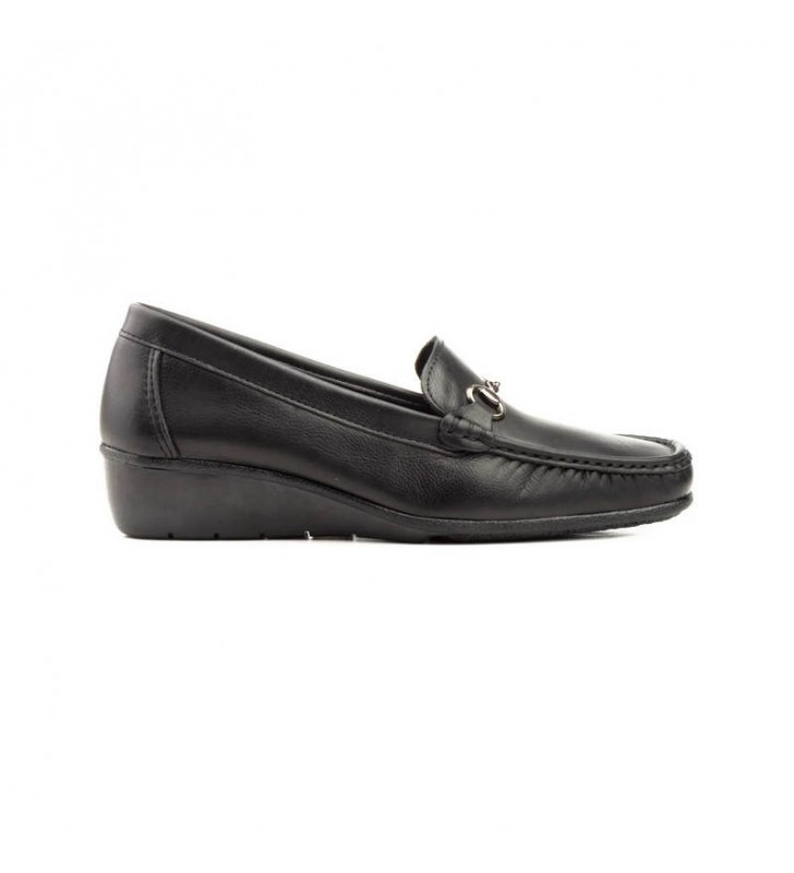 Black leather women's moccasins