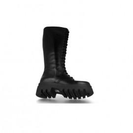 High leather platform boots