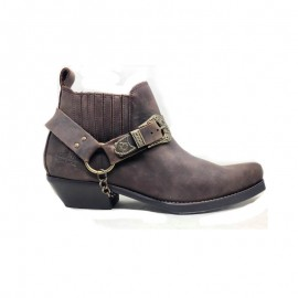 Cawboy leather biker ankle boots