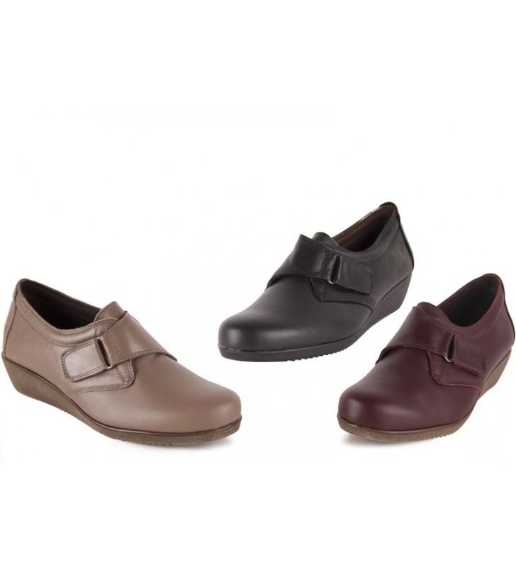 300a3094923 Zapato Mujer Confort Piel Velcro