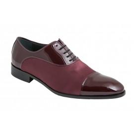 Zapato novio charol raso burdeos