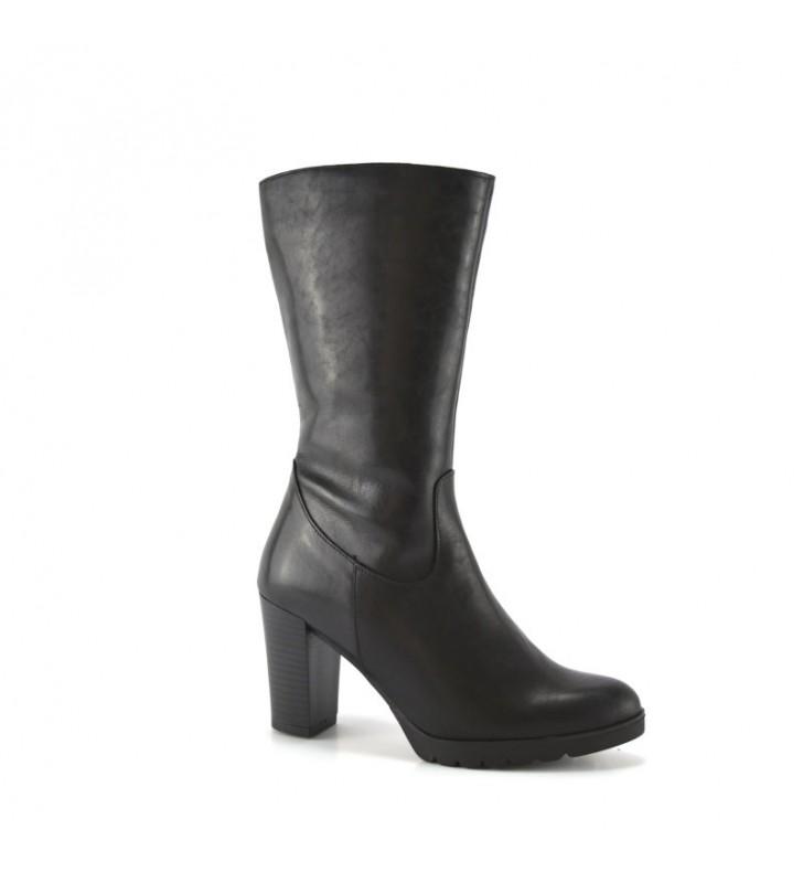 Women's Leather Boot Black Heel bda 1
