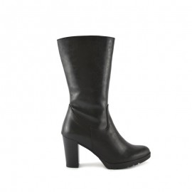 Women's Leather Boot Black Heel bda