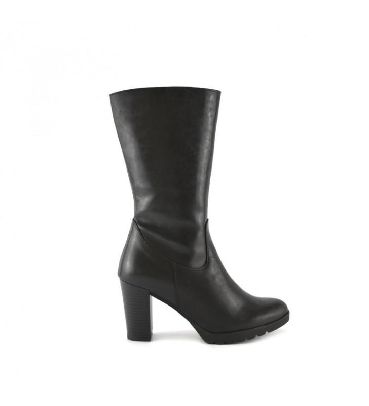 Women's Leather Boot Black Heel bda