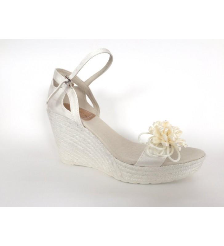 bebé rico y magnífico mejores zapatos Zapato Novia Cuña Yute Adorno Flor
