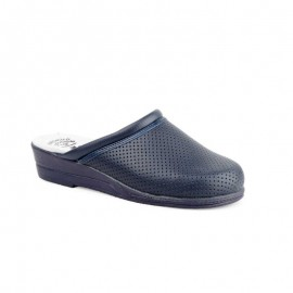 Women's Pierced Leather Clogs marine