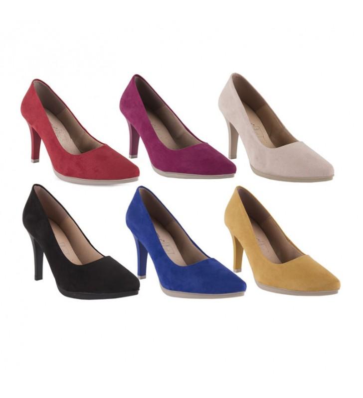 090dd77d00 Zapatos Salón Cómodos Piel Ante