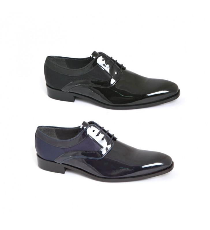 Zapatos Novio Charol Marino y Raso
