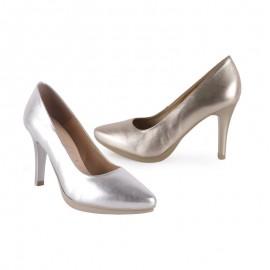 Zapatos Mujer Piel Metalizado Tacón