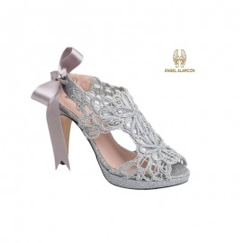 Female party silver shoe