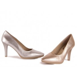 Zapatos Mujer Piel Metalizado Tacón Chamby
