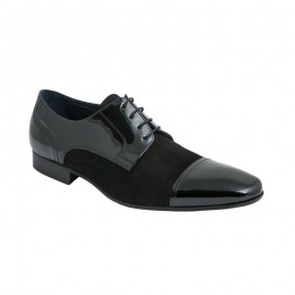Black suede patent leather shoes