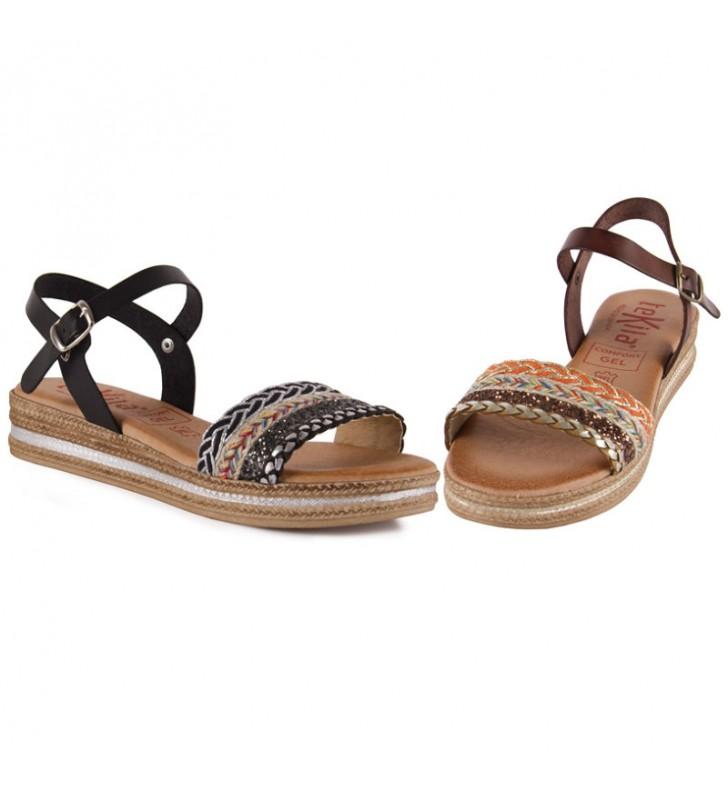 Tekila gel leather sandals