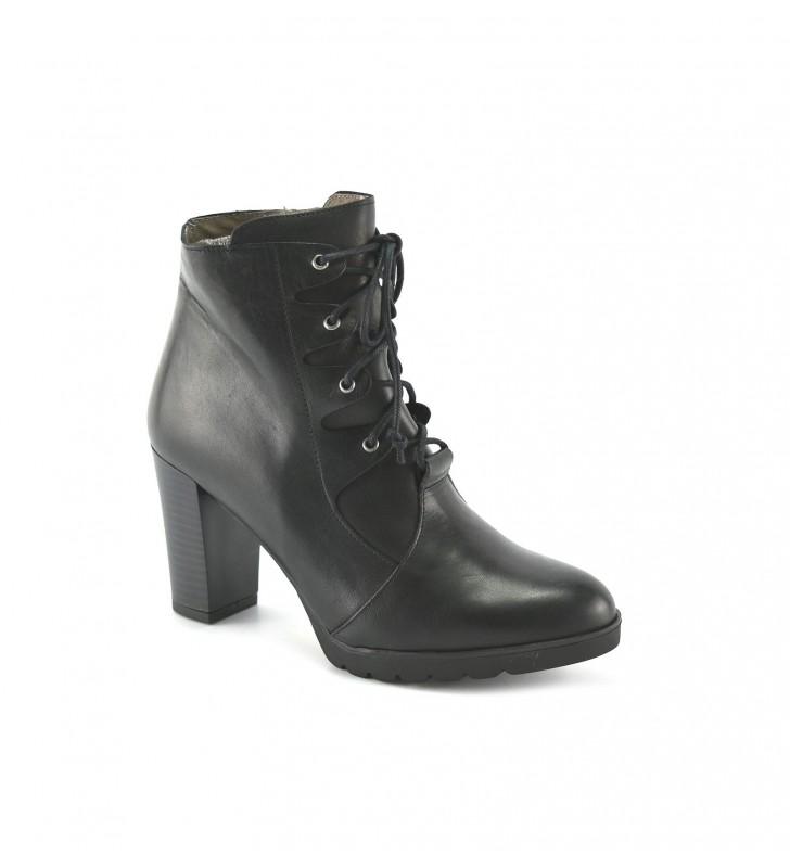Booties Woman Heel Laces Black 2
