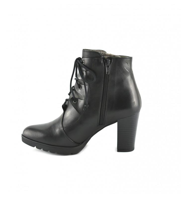 Booties Woman Heel Laces Black 1