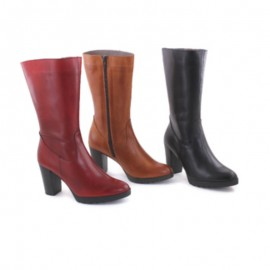 Boots Woman Leather Red Heel bda