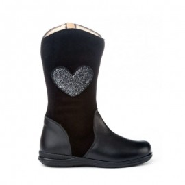 Black Leather Girl Boots