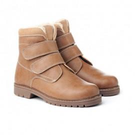Unisex leather velcro safari boots