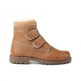 Unisex leather velcro safari boots