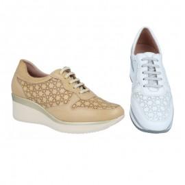 Zapatos mujer cuña piel