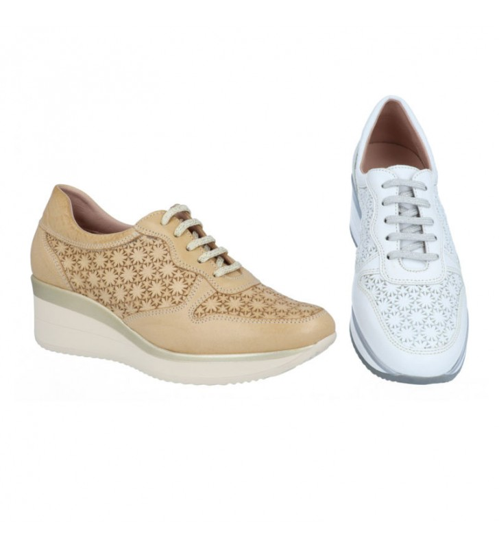 Women wedge leather shoes