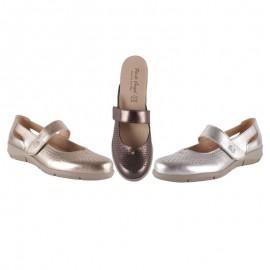 Zapatos confort velcro metalizados
