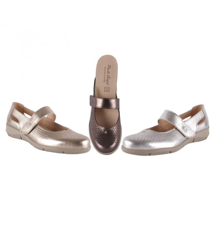 Velcro metallic comfort shoes