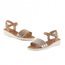 Jute leather woman sandals
