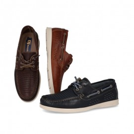 Man breathable leather boat shoes