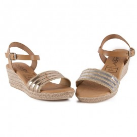 Silver Leather Wedge Sandal